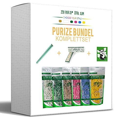PURIZE (KOMPLETTSET-250er Aktivkohlefilter Xtra Slim 250 Stück + 32er Papers + Jointube + Sticker Filter in 6 erhältlich (Durchmesser 5,9 mm) (grün)