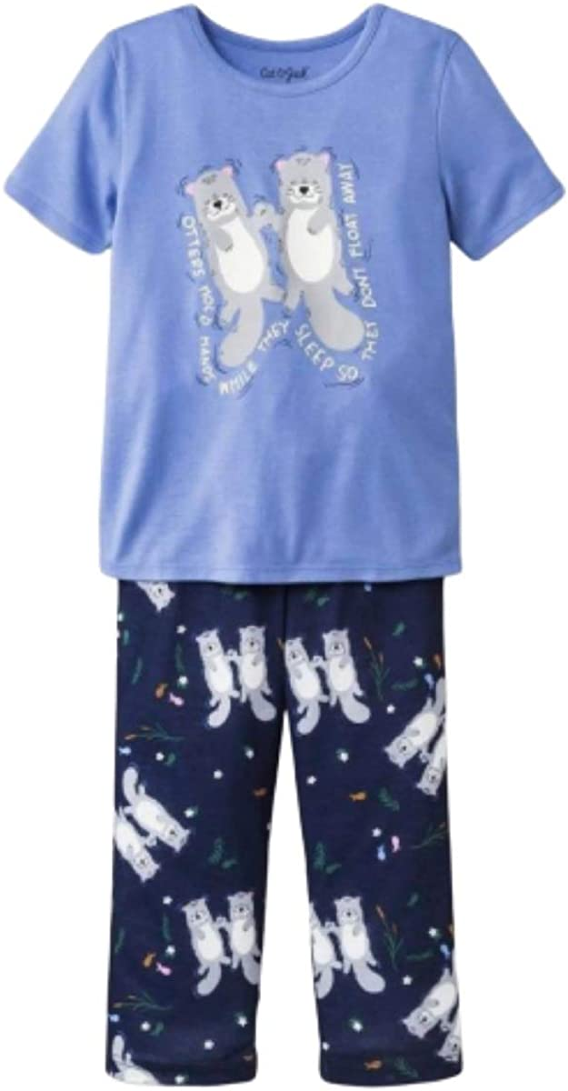 Cat & Jack Girls Short Sleeve Pajama Set- Otters Hold Hands While They Sleep So They Don't Float Away- Size 4T Blue