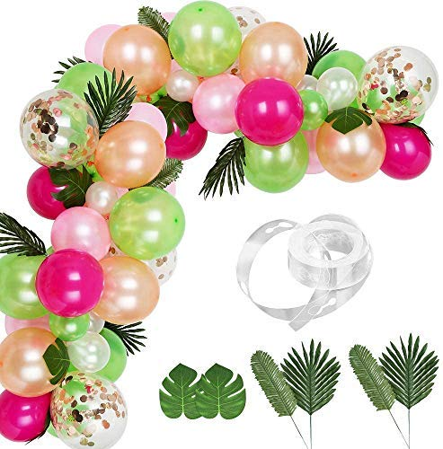 XYDZ 83 Pcs Tropical Balloons Garland Kit DIY Luau Balloon Arch Garland with Palm Leaves and Balloon Strip for Tropical Theme Birthday Party Baby Shower Decorations