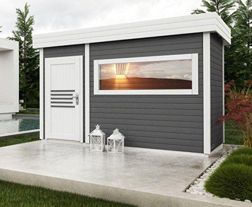 Saunahaus Lut 40 mm mit großem Panoramafenster, Farbe: Anthrazit / Weiß - Außenmaße (B x T): 354...