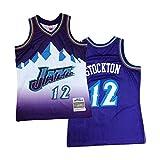 AKLP Jersey de Baloncesto Masculino, Jǎzz # 12 John Stǒcktǒn Purple Totalmente Bordado Jersey, 1991-1992 Hardwood Classics Swingman Shackback Jersey XXL