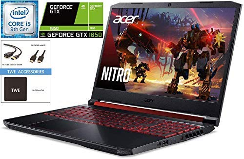 Acer Nitro 5 15.6 FHD Gaming Laptop, 9th Gen Intel Quad Core i5-9300H, 16GB DDR4, 1TB HDD + 256GB SSD, NVIDIA GeForce GTX 1650, Backlit Keyboard, WiFi 6, MaxxAudio, Windows 10 + TWE Accessory Bundle