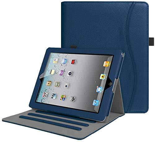 FINTIE Custodia per iPad 2 3 4 - [Multi-angli] Slim Fit Folio Pieghevole Cover con Auto Svegliati Sonno per iPad 2 3 4 Retina con Tasca per Le Schede, Blu Scuro