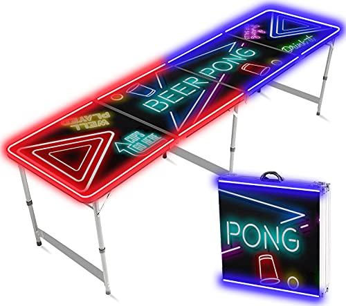 Offizieller Spotlight Beer Pong Tisch | Mit LED Beleuchtung | Offizielle Wettkampfmaße | Beer Pong Table | Kratz und Wassergeschützt | OriginalCup®
