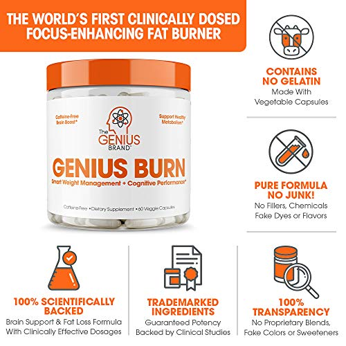 Genius Fat Burner - Thermogenic Weight Loss & Nootropic Focus Supplement - Natural Metabolism & Energy Booster for Men & Women | Thyroid Support and Appetite Suppressant w/ Gymnema Sylvestre, 60 Pills 4