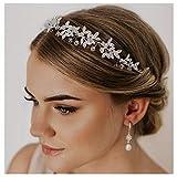 SWEETV Accesorios para el cabello de plata Flor nupcial Rhinestone Bandas para el cabello Diadema Tiara Flectional