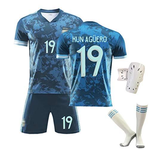 ZQYDUU Fußballuniform Männer Kinder Argentinien Jersey #19 Kun Aguero #9 Higuain Weg Fußballtrikots, Spieler Trikot, Team Training Trainingsanzüge Hemd Shorts #19-S