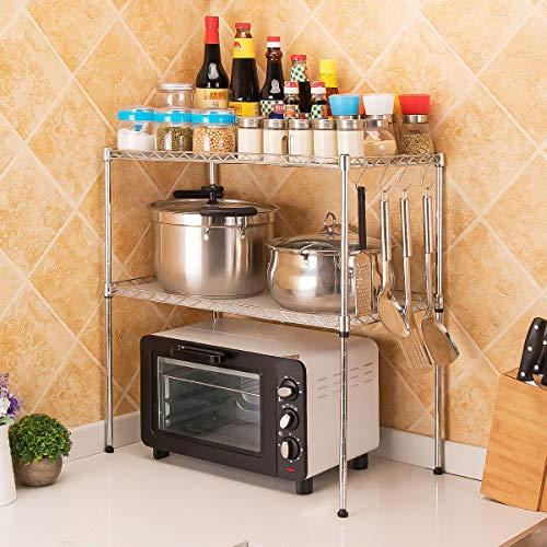 LC&TEAM Küchenregal Mikrowellenhalter 2 Ebenen Gewürzregal Standregal verstellbar Küchenablage mit 4 Haken Metallregal Küchen-Organizer Mikrowellenregal Lagerregal für Arbeitsplatten