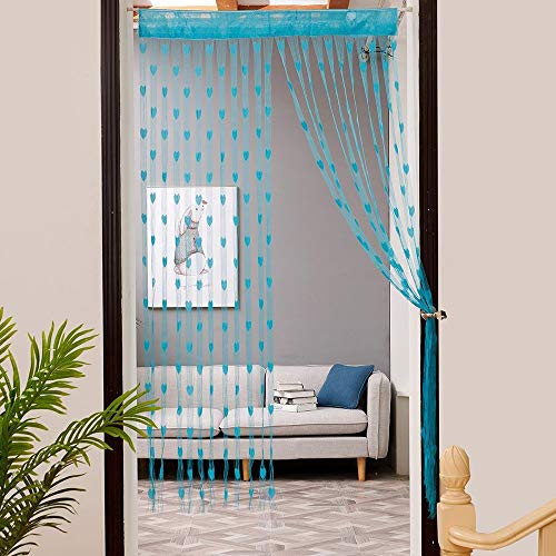 YYM Gaddrt 1Pcs 50x200cm Window Curtain Love Heart String Door Divider Sheer Curtain Valance (Sky Blue)