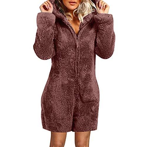 KEERADS Jumpsuit Damen Overall Plüsch Pyjama Winter Overall Anzug Flausch Bademantel...