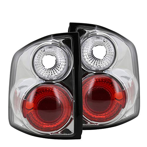 Spec-D Tuning Chrome Housing Clear Lens Tail Lights for 1994-2004 Chevy S10 Sonoma Taillights Assembly Left + Right Pair