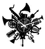 Reloj de pared de vinilo Vintage Handmade Amueblar Hogar Oficina Guitarra Batería Teclado Notas Instrumentos Musicales Rock Pop Jazz