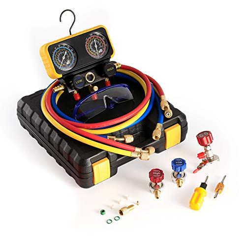 Auto Service AC Manifold Gauge Set for R134A Refrigerant Gauges R12, 3-Way Car Diagnostic AC Gauges with 5ft Hose, ACME Tank AC Adapters, Adjustable Couplers and Can Tap Set