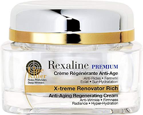 Rexaline - X-treme Renovator Rich - Crema regeneradora antiedad - Crema antiarrugas de ácido hialurónico - Nutritiva y calmante - Tratamiento facial hidratante - Piel seca - Cruelty free - 50ml
