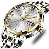 Mens Watches Fashion Simple Waterproof Quartz Sports Watch Stainless Steel Wrist Watch Auto Date Calendar Business Watch for Men