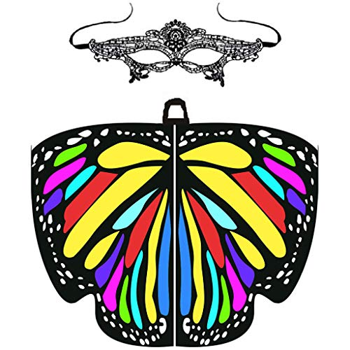 Hniunew Party Schmetterling Schal Schwarzer Kragen Schal Poncho Umhang Karneval KostüM ZubehöR Frauen Weiches SchmetterlingsflüGel Schal Cosplay Faschings KostüM Zusatz Umschlagtücher