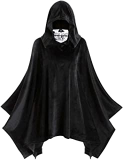Goutique Womens Hooded Cloak Tops Halloween Skull Mask Vintage Witch Party Long Cape for Women/Man Cosplay Costume