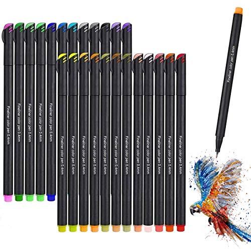 Rotuladores de punta fina, Juego de Bolígrafos de Color Vakki Fineliner Plumas, 0.4 mm Pluma de Punta de fieltro de 24 Colores para Bullet Journal Note Taking Adult...