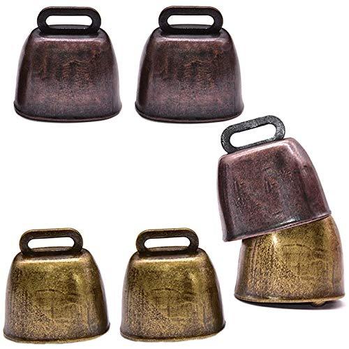 Bzocio Campana de vaca de metal de 6 piezas, campana campana retro para caballo, ovejas al pasto en cobre, productores de ruido para campanas de vaca
