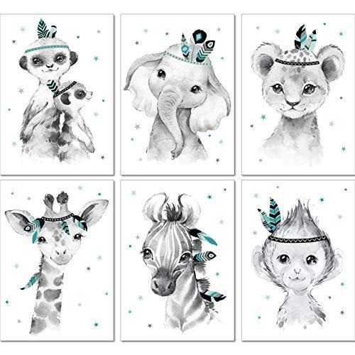 LALELU-Prints | A4 Bilder Kinderzimmer Deko Mädchen Junge | Zauberhafte Indianer-Tiere Boho Feder mint | Poster Babyzimmer | 6er Set Kinderbilder (DIN A4 ohne Rahmen)