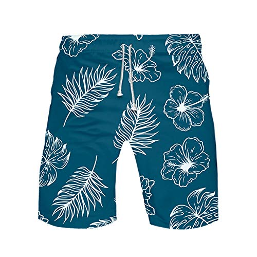Meiju Pantalones de Playa Talla Grande 3D, Bañadores de Deporte para Hombre de Estampados Verano Entrenamiento Cortos de Surf Natación Pantalón (5XL,Verde)