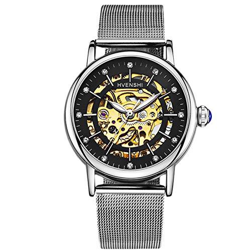 RORIOS Fashion Mujer Relojes de Pulsera Mecánico Automático Esqueleto Dial Acero Inoxidable Correa Relojes de Mujer