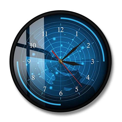 MXHJD-Pantalla de Radar Azul con Mapa de Destino Reloj de Pared Reloj de Pared Decorativo de Asesinato por Radar