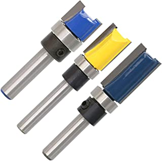QLOUNI 3pcs Router Bit Set Double Straight Flute Flush Trim 1/4 Inch Shank Trim Bit Template Cutter 1/2