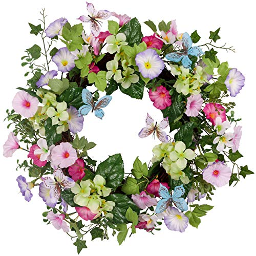 Valery Madelyn 24 Inch Spring Flower Wreath with Colorful Morning Glory, Butterfly and Green Leaves for Wedding, Front Door, Wall, Indoor, Outdoor and Home Décor