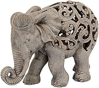 Design Toscano Anjan the Elephant Indian Decor Jali Animal Statue, 12 Inch, Polyresin, Brown Stone
