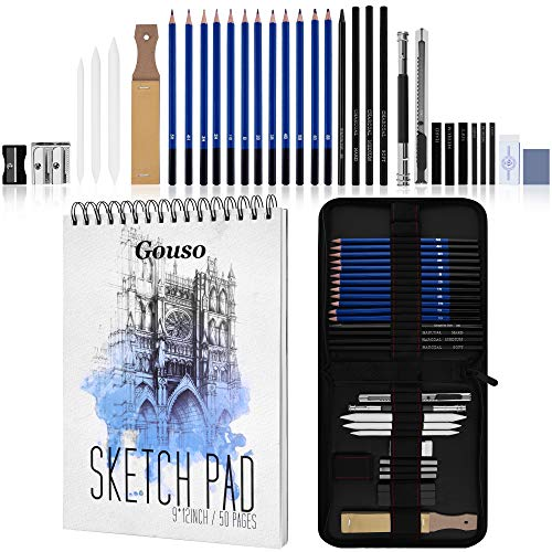 Gouso Art Drawing Set, Sketching and Charcoal Pencils Kit, Art Supplies Includes Sketch Pad, Graphite Pencils, Charcoal Sticks and Eraser, Professional Sketch Pencils Set for Drawing