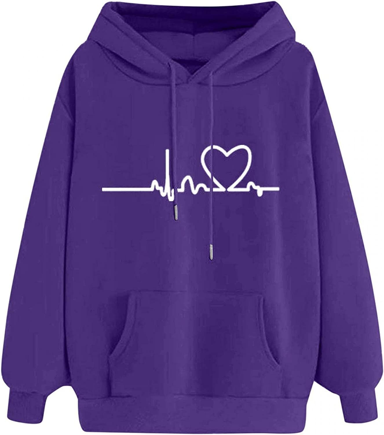 Jaqqra Hoodies for Women Pullover Long Sleeve Solid Color Printed Hooded Sweatshirts Teen Girls Casual Loose Tops Shirts