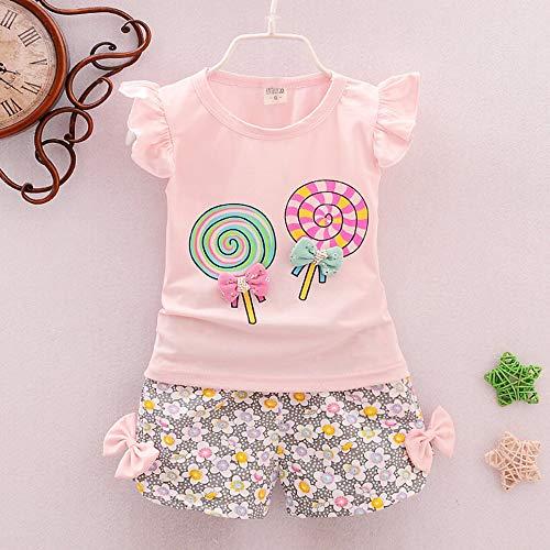 WOIA 2pcs Set Summer Baby Girl Ropa Traje Lollipop Printed Floral T-Shirt + Pants, Pink, 80cm