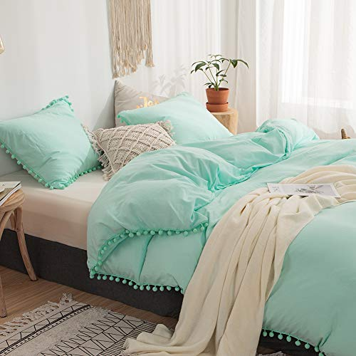 MOVE OVER 3 Pieces Turquoise Bedding Aqua Blue Duvet Cover Set Ball Fringe Pattern Design Soft Turquoise Blue Bedding Sets Queen 1 Duvet Cover 2 Ball Lace Pillow Shams (Queen, Turquoise)