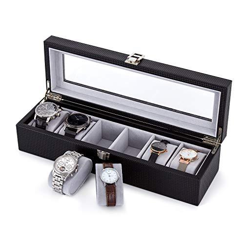 Meerveil Uhrenbox, Uhrenkasten für 6 Uhren mit Glasfenster,34.5 x 11 x 8.5cm,Kunstleder und Samt-Innenfutter Watch Box mit Silbernem Metallverschluss,Schwarz