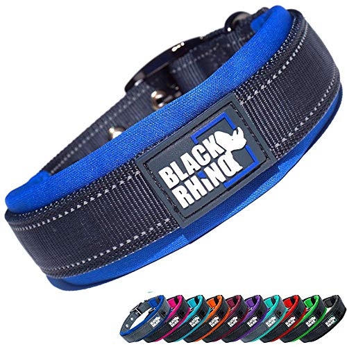 Black Rhino - The Comfort Collar Ultra Soft Neoprene Padded Dog Collar for All Breeds - Heavy Duty Adjustable Reflective Weatherproof (Small, Blue/Grey)