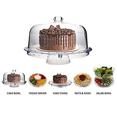 Multi-Purpose 6 in 1 Cake Stand with Dome Lid - Multifunctional Serving Platter and Cake Plate - Use as Salad Bowl / Veggie Platter / Punch bowl / Desert Platter / Nachos & Salsa Plate