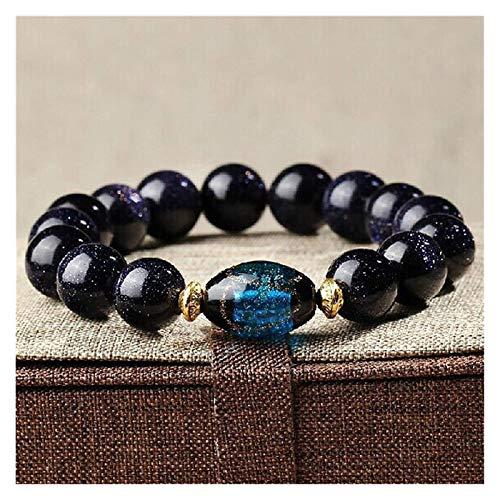 FLYAND Feng Shui Riqueza Pulsera Azul Arenisca Pulsera Amuleto Estrella Cielo con glaseado de Color Azul Perlas de Cristal Natural de Cristal Semi-Preciosas atrae Suerte Brazalete Regalo para Mujeres