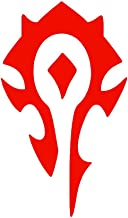 Horde World of Warcraft Symbol [Pick Any Color] Vinyl Transfer Sticker Decal for Laptop/Car/Truck/Window/Bumper (3in x 1.8in (Laptop Size), Red [2-Pack])