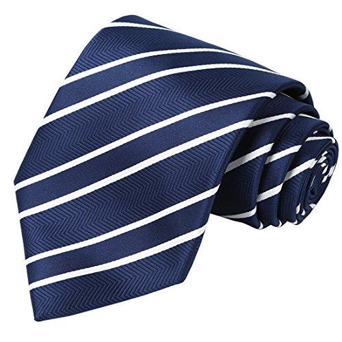 KissTies Extra Long Tie Navy Blue Striped Tall Man Necktie + Gift Box (63'' XL)