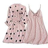 GO-AHEAD Albornoz Mujer, Punto de impresión Sexy Mujeres de baño de Mujeres Nightdress de 2 Piezas Pijamas Lounge Homewear Set Conjunto Pijamas (Color : Pink Set, Size : X-Large)