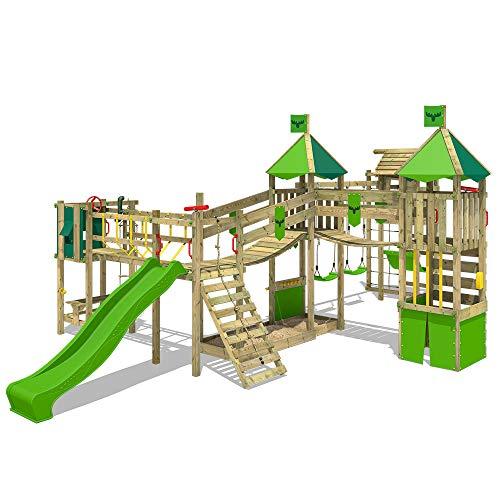 FATMOOSE Parque infantil de madera FunnyFortress con columpio TowerSwing y tobogán manzana verde Casa de juegos de jardín con arenero y escalera para niños