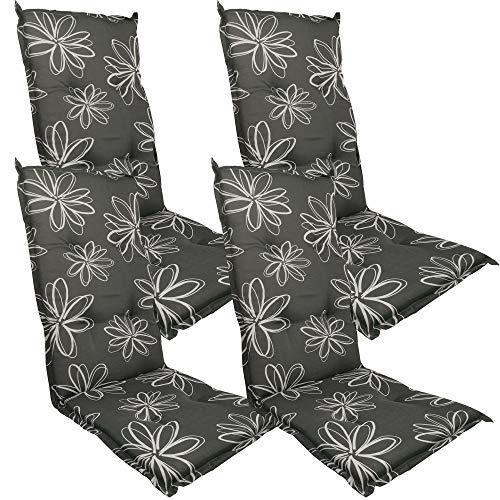 DILUMA Hochlehner Auflage Naxos für Gartenstühle 118x49 cm 4er Set Blume Schwarz - 6 cm Starke Stuhlauflage mit Komfortschaumkern und Bezug aus 100{703b64ad89cd888b1f3cdd4a48ef6b2ea6014625b61d51e0f70cdd7ce886754d} Baumwolle - Made in EU mit ÖkoTex100
