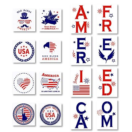 16 Stück Amerikanische Flagge Patriotische Schablonen Wiederverwendbare Unabhängigkeitstag 4. Juli Malerei DIY USA Thema Muster Vorlagen zum Zeichnen auf Holz Tür Home Party Dekorationen