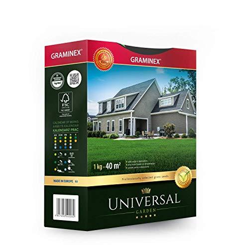 Graminex Universal Grassamen, Prämie, Professionell Auswahl für Spielrasen, Zierrasen und Garten, für verschiedene Bodenarten, 1 kg für bis zu 40 m2