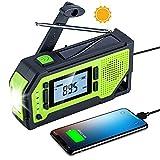 Olycism Radio Portables avec écran LCD et Batterie Rechargeable 2000mAh Radio d'Urgence vec manivelle Banque d'énergie Solaire Alarme SOS Tire-Bouchon Mousqueton Écouteur Jack pour l'extérieur