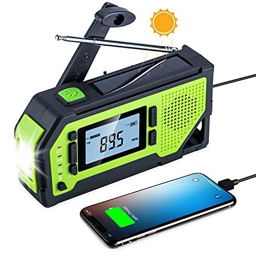 Olycism Radio Portatil Pequeña con Pantalla LCD y batería de 2000mAh Radio meteorológica de Emergencia con manivela Banco de energía Solar luz Alarma SOS Sacacorchos Mosquetón Conector Auriculares