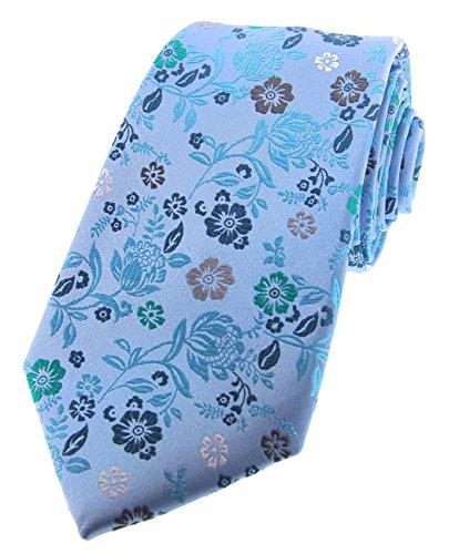 Soprano Posh & Dandy Cravate en soie de luxe Bleu clair avec fleurs multicolores