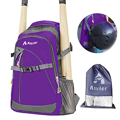 ALLRIER Baseball Backpack Bag - Baseball Bag with Fence Hook, Ball Softball Equipment Gear Holds 2 Bat Helmet Batting Glove Cleats Water Bottles and More for Kids Youth and Adults - Purple