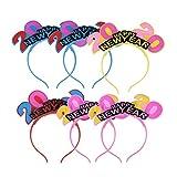 Amosfun Bonne année bandeau 2020 led allumer les cheveux cerceau nouvel an veille partie habiller accessoire de cheveux bandeau lumineux pour la fête du nouvel an faveurs de photo les accessoires 6pcs